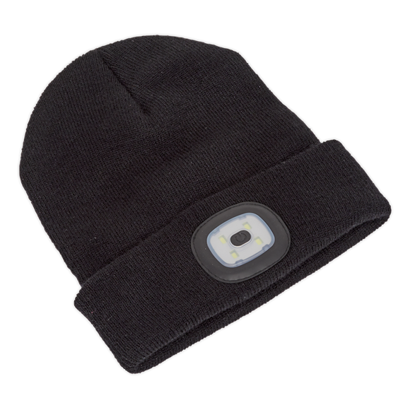 SEALEY Beanie Hat 4 SMD LED USB Rechargeable